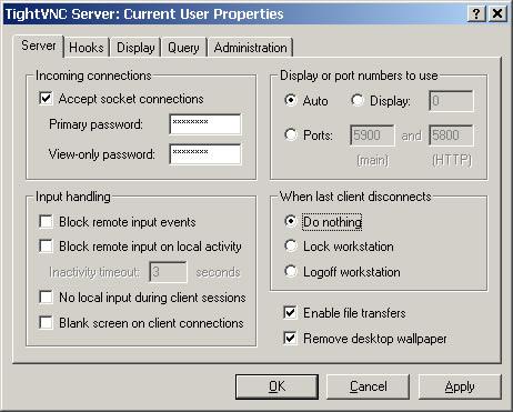 Configurazione parte server di TightVNC