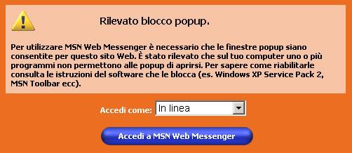 Web Messenger - Blocco popup attivato