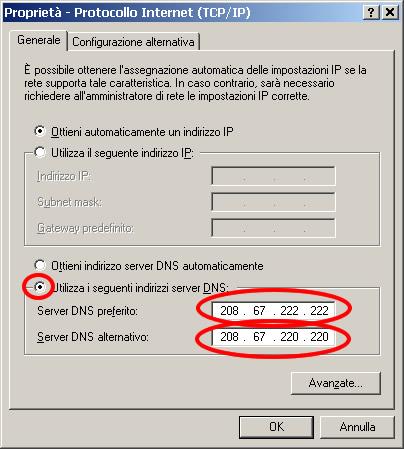 Proprietà TCP/IP
