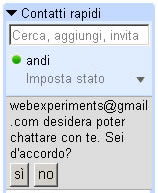 invito per chattare son Gmail