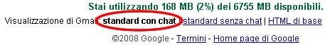 gmail versione standard con chat