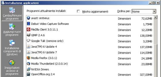 Windows installazione applicazioni
