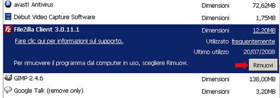 windows rimozione programma