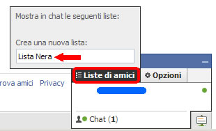 facebook creazione lista amici