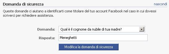 Facebook domanda di sicurezza