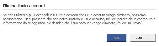 Facebook eliminare account