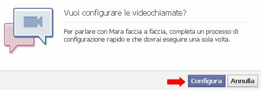 Facebook configurazione videochiamata