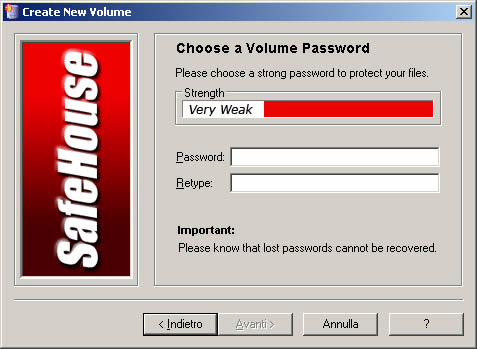 SafeHouse creazione password del volume