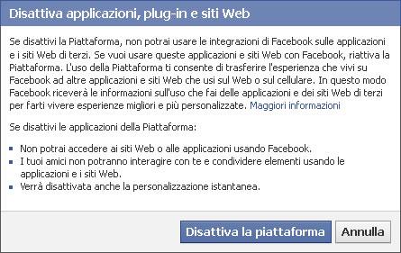 Avviso disattivazione applicazioni Facebook