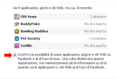 Disattivare applicazioni Facebook