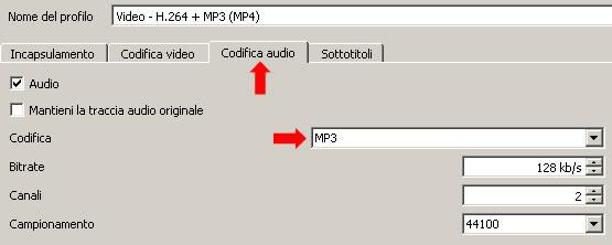 impostazioni codifica audio
