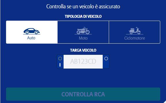 Controllo assicurazione veicolo